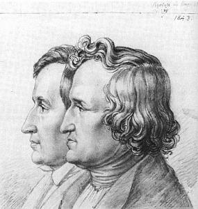 Jacob und Wilhelm Grimm: Bleistift, 15,3 × 14,9 cm. Quelle: http://www.zeno.org - Zenodot Verlagsgesellschaft mbH