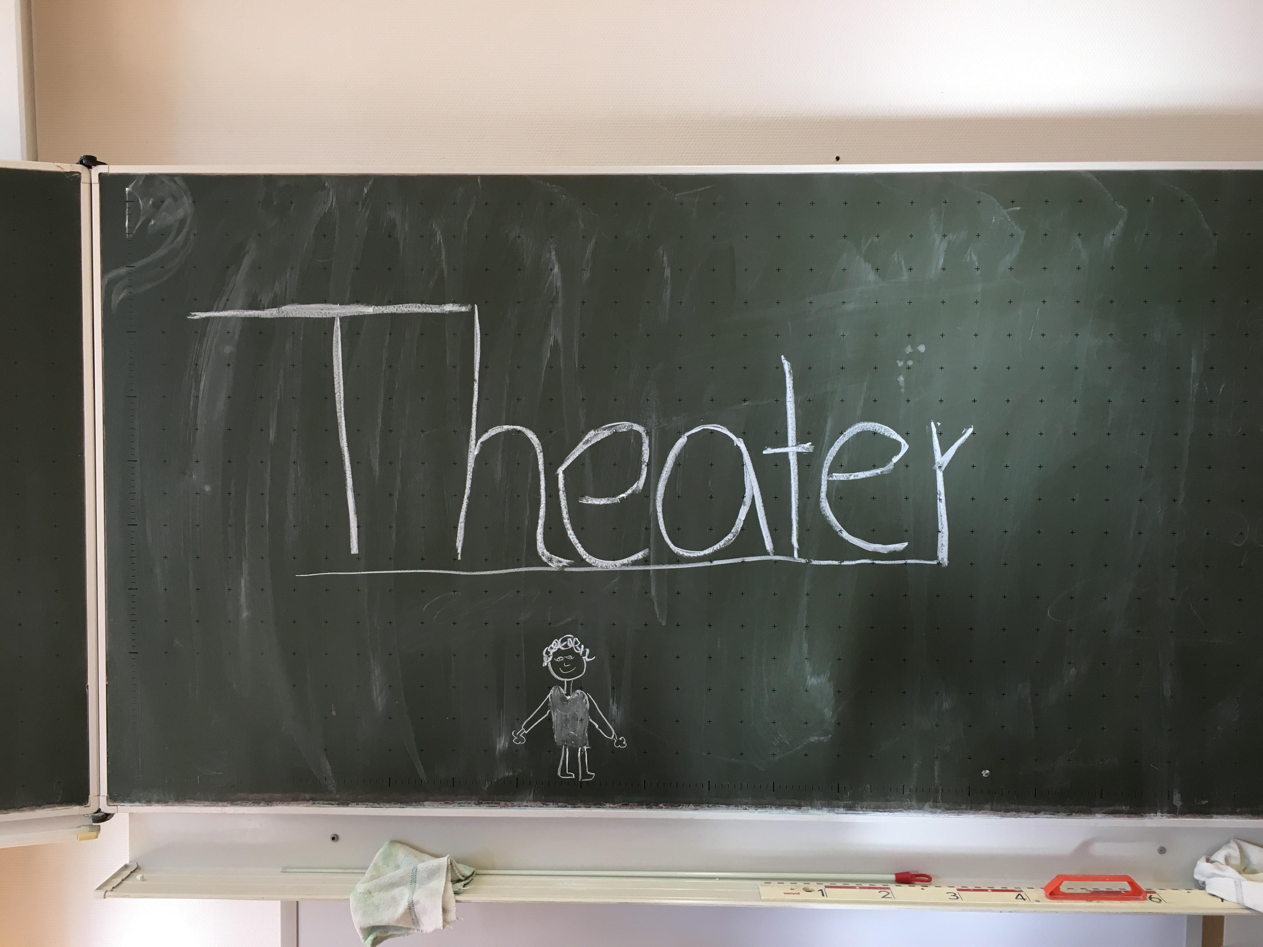 """Das Wort """"Theater"""" mit weißer Kreide auf eine Schultafel geschrieben"""